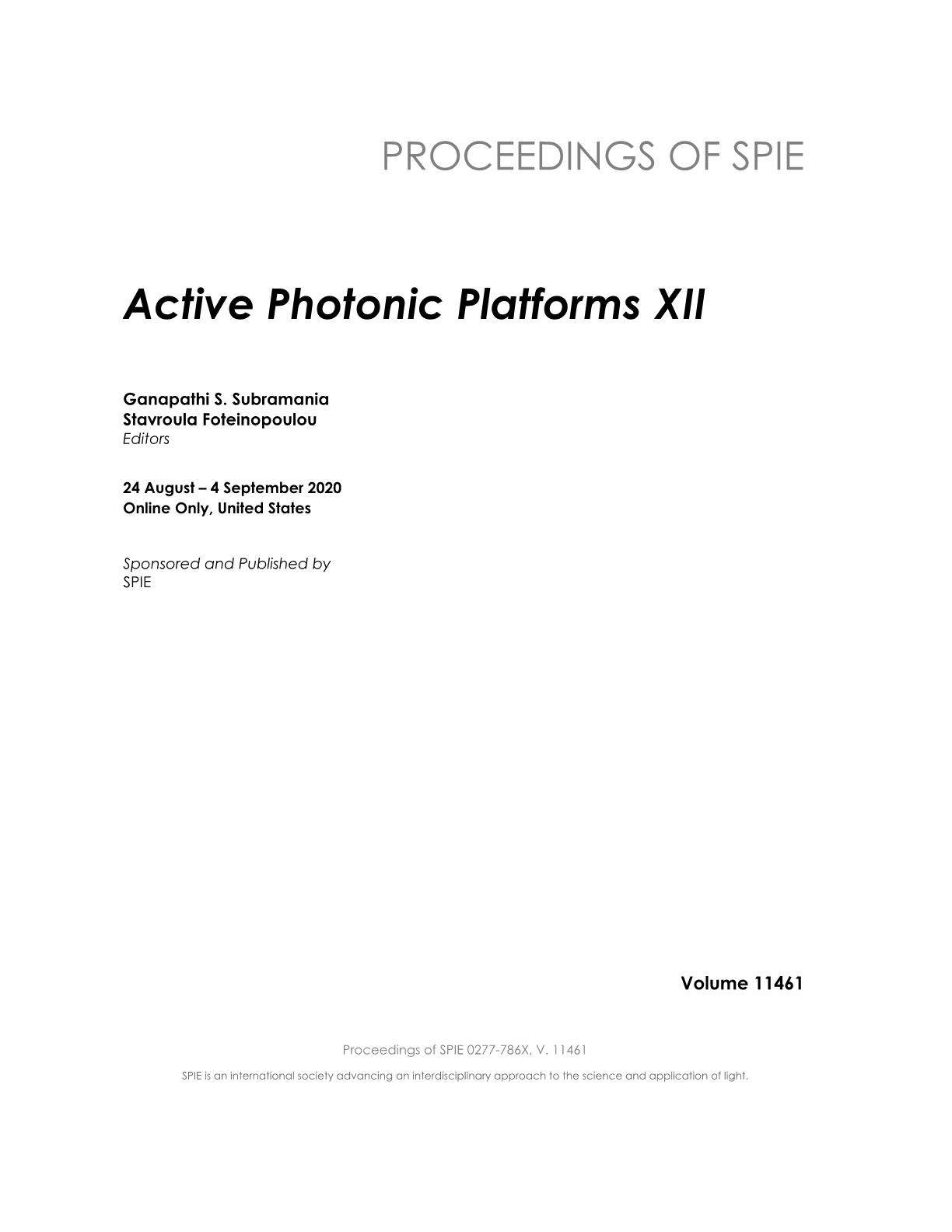 Active Photonic Platforms XII